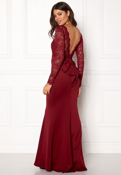 Goddiva Open Back Lace Dress Wine Bubbleroom.eu