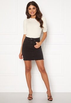 Pieces Aia MW Denim Skirt Black Denim Bubbleroom.eu