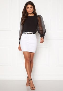 Pieces Aia MW Denim Skirt Bright White Bubbleroom.eu