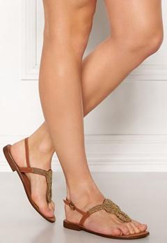 Pieces Carmensia Leather Sandals Gold Colour Bubbleroom.eu