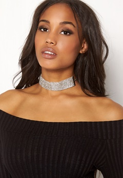 Pieces Diva Glitter Choker Silver Colour Bubbleroom.eu