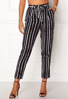 Pieces Drena MW Ankle Pants Black Stripes Bubbleroom.eu