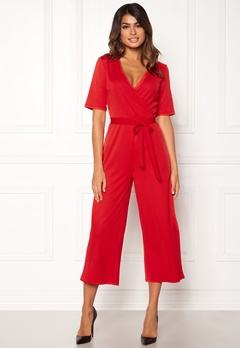 Pieces Duna 2/4 Cropped Jumpsuit Flame Scarlet Bubbleroom.eu