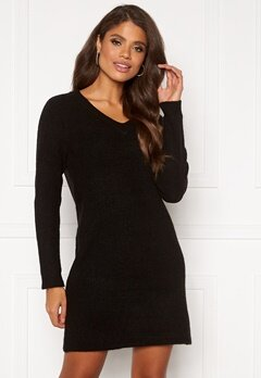 Pieces Ellen V-neck Knit Dress Dark Grey Malange Bubbleroom.eu