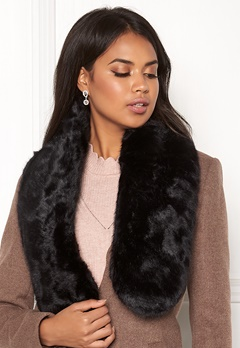 Pieces Fur Scarf DC Black/Solid Bubbleroom.eu