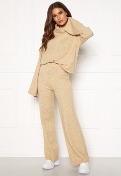 Pieces Honey Wide Knit Pants Tannin Bubbleroom.eu