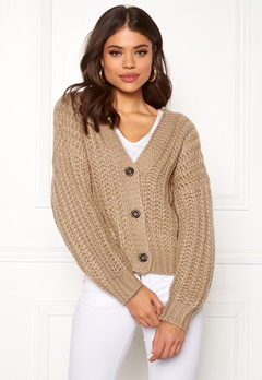 Pieces Isabella LS Knit Cardigan Warm Sand Bubbleroom.eu