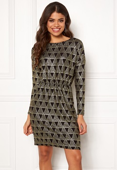 Pieces Lara LS Dress Black/Gold Bubbleroom.eu