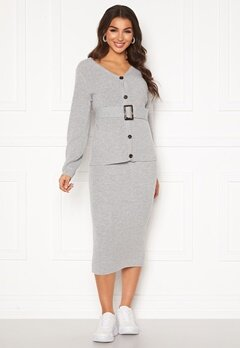 Pieces Milla HW Midi Knit Skirt Light Grey Melange Bubbleroom.eu