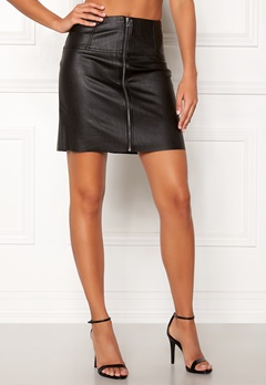 Pieces Tecia Faux Leather Skirt Black Bubbleroom.eu