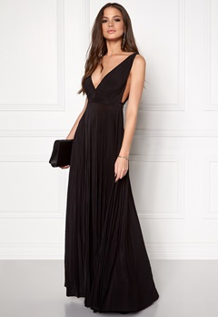Goddiva Pleated Oscar Dress Black Bubbleroom.eu