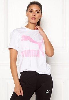 PUMA Classics Logo Tee 002 Wht/Pink Bubbleroom.eu