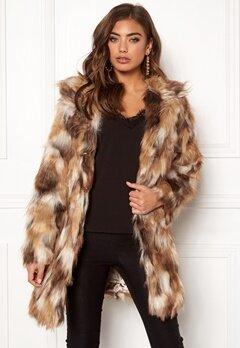 QED London Animal Faux Fur Coat Brown Bubbleroom.eu