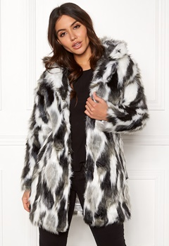 QED London Animal Faux Fur Coat Grey Bubbleroom.eu