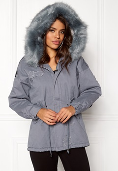 QED London Relaxed Parka Fur Hood Grey Bubbleroom.eu