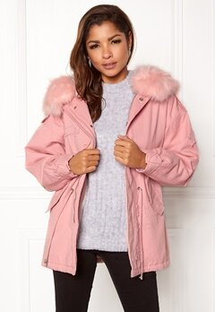 QED London Relaxed Parka Fur Hood Pink Bubbleroom.eu