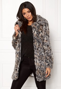 QED London Wild Cat Faux Fur Coat Wild Cat Bubbleroom.eu