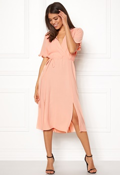 New Look Ram Tie Wrap Maxi Dress Shell Pink Bubbleroom.eu