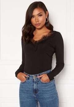 Rut & Circle Delia LS Lace Top Black Bubbleroom.eu