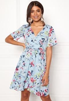 Rut & Circle Eleonor Wrap Dress Lt Blue Combo Bubbleroom.eu