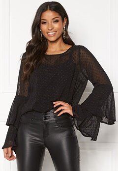 Rut & Circle Felicia Frill Sleeve Top Black Bubbleroom.eu