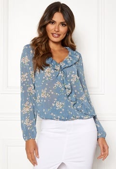 Rut & Circle Flower Frill Blouse Blue Combo Bubbleroom.eu