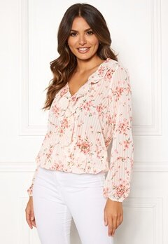 Rut & Circle Flower Frill Blouse White/Pink Bubbleroom.eu