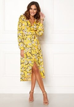 Rut & Circle Flower LS Wrap Dress Yellow Bubbleroom.eu