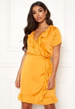 Rut & Circle Ida Wrap Dress Yellow Glow Bubbleroom.eu