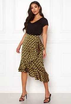 Rut & Circle Isa Midi Skirt Yellow Flower Bubbleroom.eu
