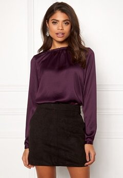Rut & Circle Maci Frill Neck Blouse Dark Purple Bubbleroom.eu