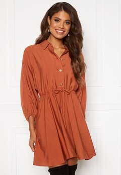 Rut & Circle Melissa Drawstring Dress Rust Bubbleroom.eu