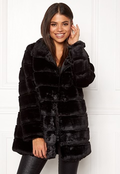 Rut & Circle Panel Faux Fur Jacket Black Bubbleroom.eu
