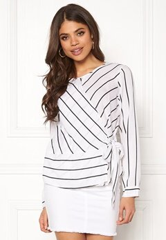 Rut & Circle Striped Knot Blouse White/Black Bubbleroom.eu