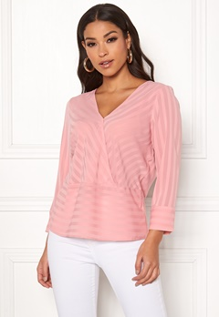 Rut & Circle Striped Waist Seam Blouse Blush Bubbleroom.eu