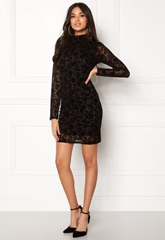 Rut & Circle Velvet Print Dress Black Bubbleroom.eu