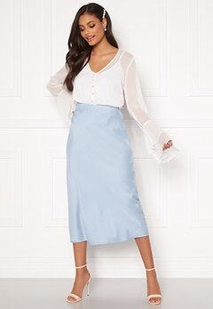 Sandra Willer X Bubbleroom Bias cut skirt Light blue Bubbleroom.eu