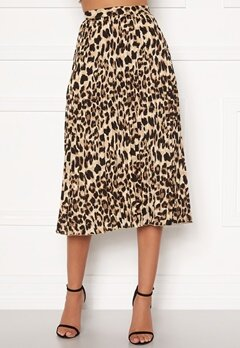 Sandra Willer X Bubbleroom Pleated midi skirt Leopard Bubbleroom.eu
