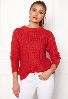 VILA Satira L/S Knit Top Tomato Puree Bubbleroom.eu