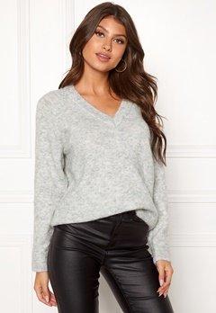 SELECTED FEMME Lanna LS Knit V-neck Light Grey Melange Bubbleroom.eu