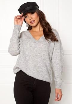 SELECTED FEMME Livana LS Knit V-neck Light Grey Melange Bubbleroom.eu