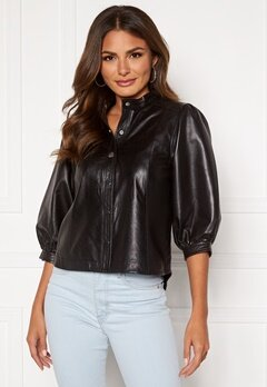 SELECTED FEMME Milla Leather Shirt Black Bubbleroom.eu