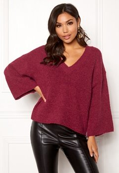 SELECTED FEMME Peri 7/8 Knit V-neck Beet Red Bubbleroom.eu