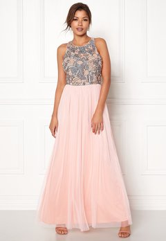 AngelEye Sequin Bodice Maxi Dress Pink/Grey Bubbleroom.eu