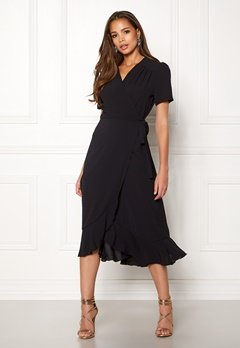 John Zack Short Sleeve Wrap Dress Black Bubbleroom.eu
