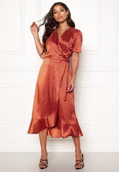 John Zack Short Sleeve Wrap Dress Rust Jacquard Bubbleroom.eu