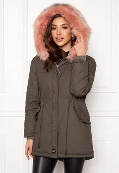 Sixth June Parkas Faux Fur Jacket Grey/Stone Pink Bubbleroom.eu