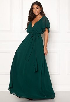 Goddiva Sleeve Chiffon Maxi Dress Green Bubbleroom.eu