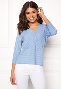 Rut & Circle Striped Waist Seam Blouse Mid Blue Bubbleroom.eu