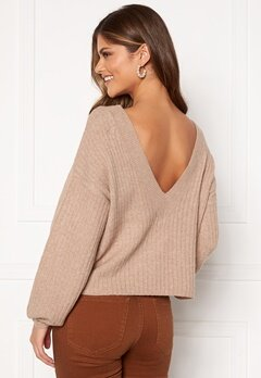 Pieces Suna LS Open Back Knit Natural Bubbleroom.eu
